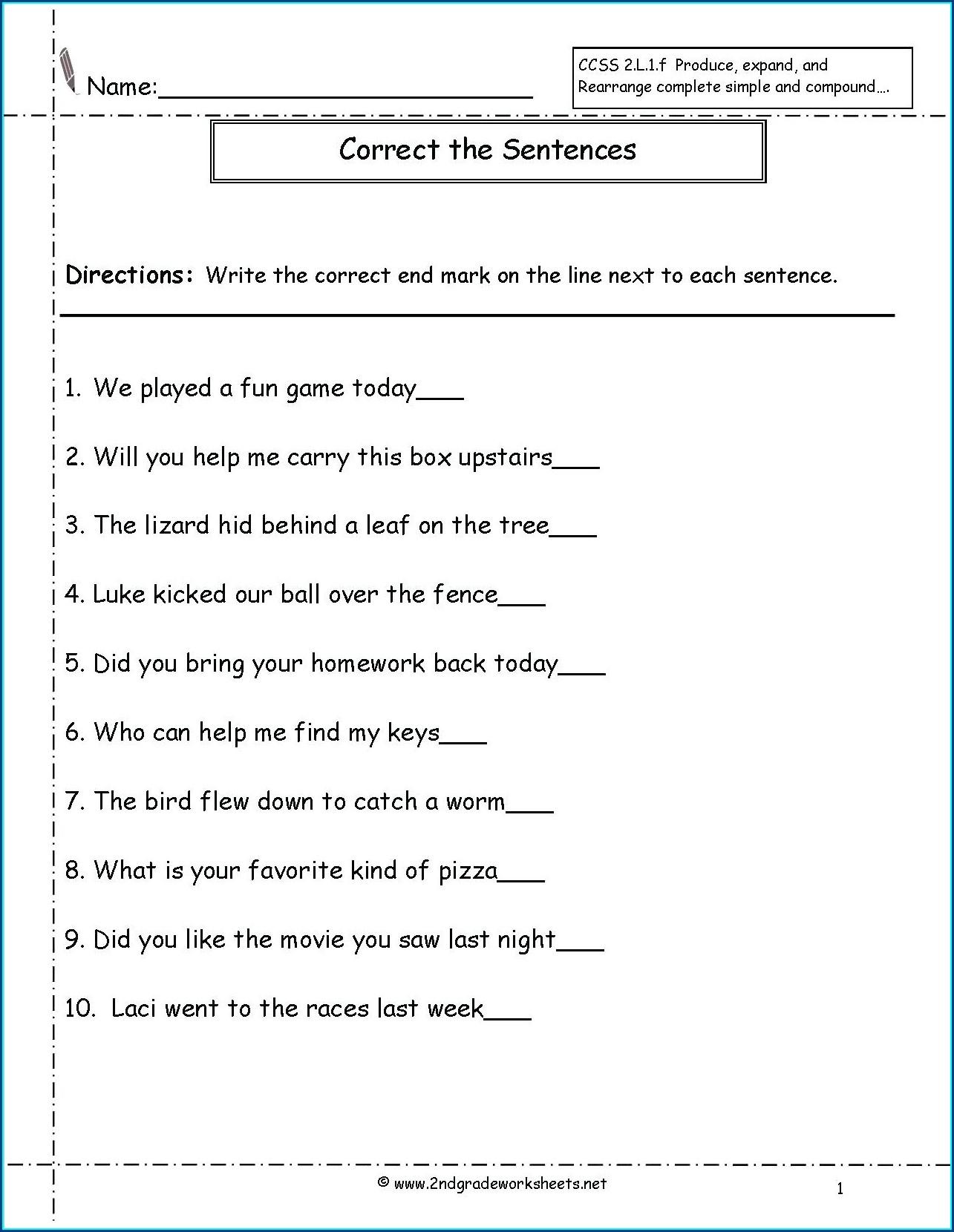 Reading Worksheet For 1st Grade