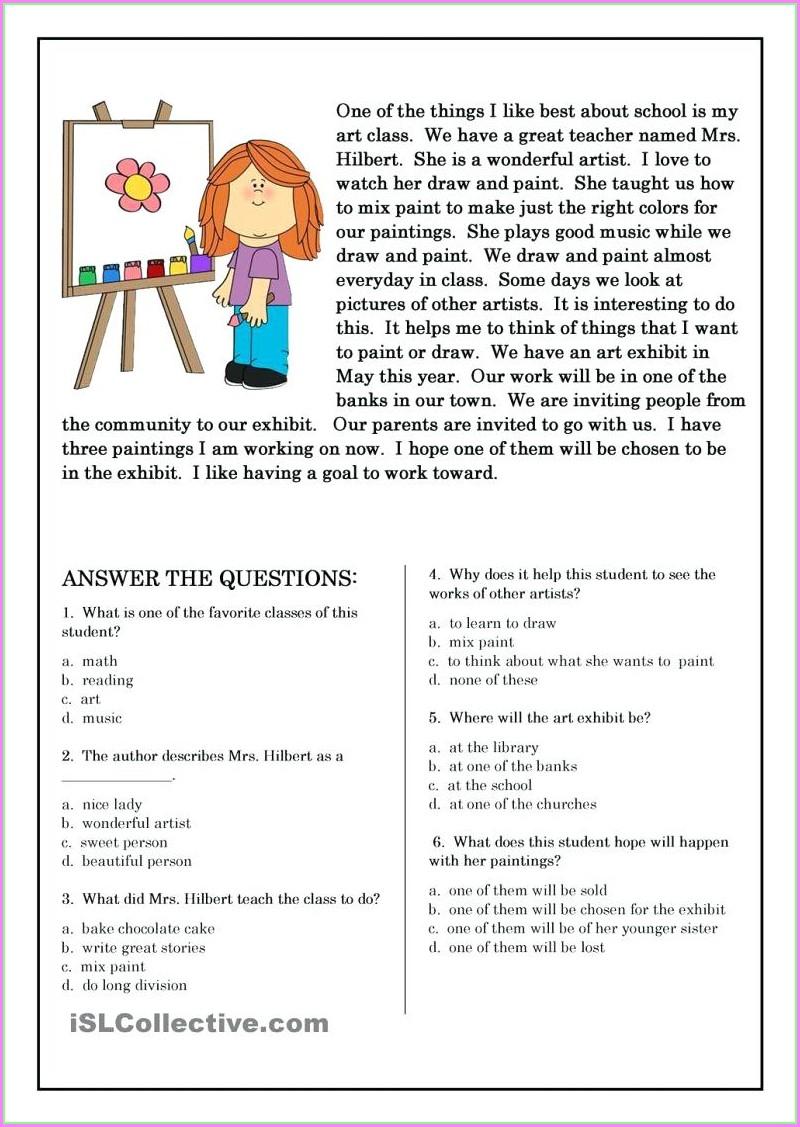 Reading Worksheet For 3rd Graders
