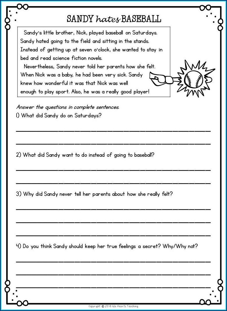 Reading Worksheet For Second Grade