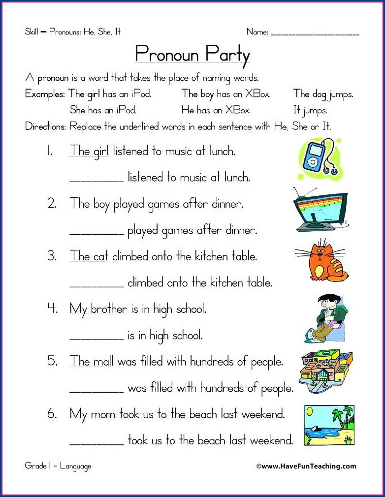 Reflexive Pronouns Worksheets For Grade 5
