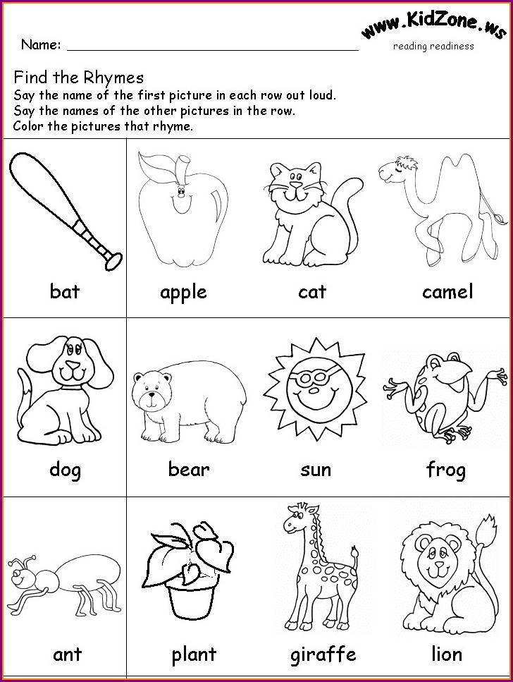 Rhyming Words Worksheet For Kg
