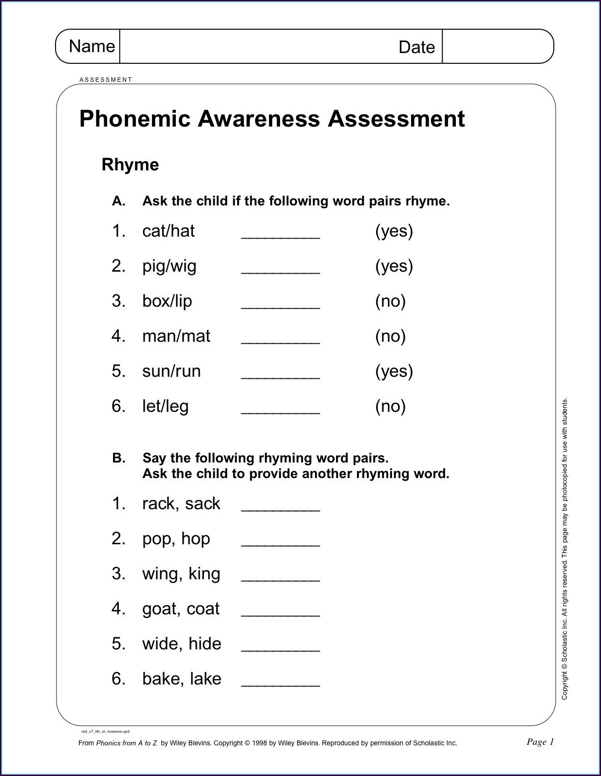 Rhyming Words Worksheet For Year 1