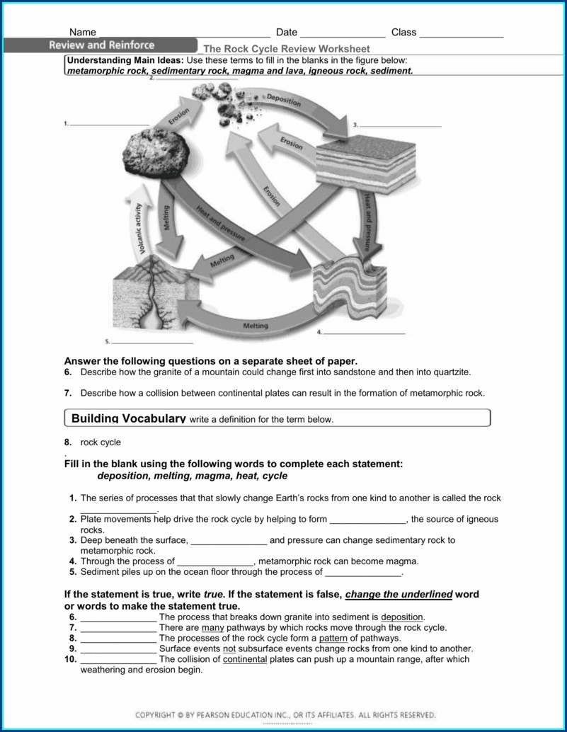Rock Cycle Vocabulary Worksheet Answers