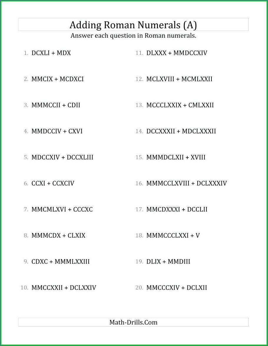 Roman Numbers Worksheet Grade 3