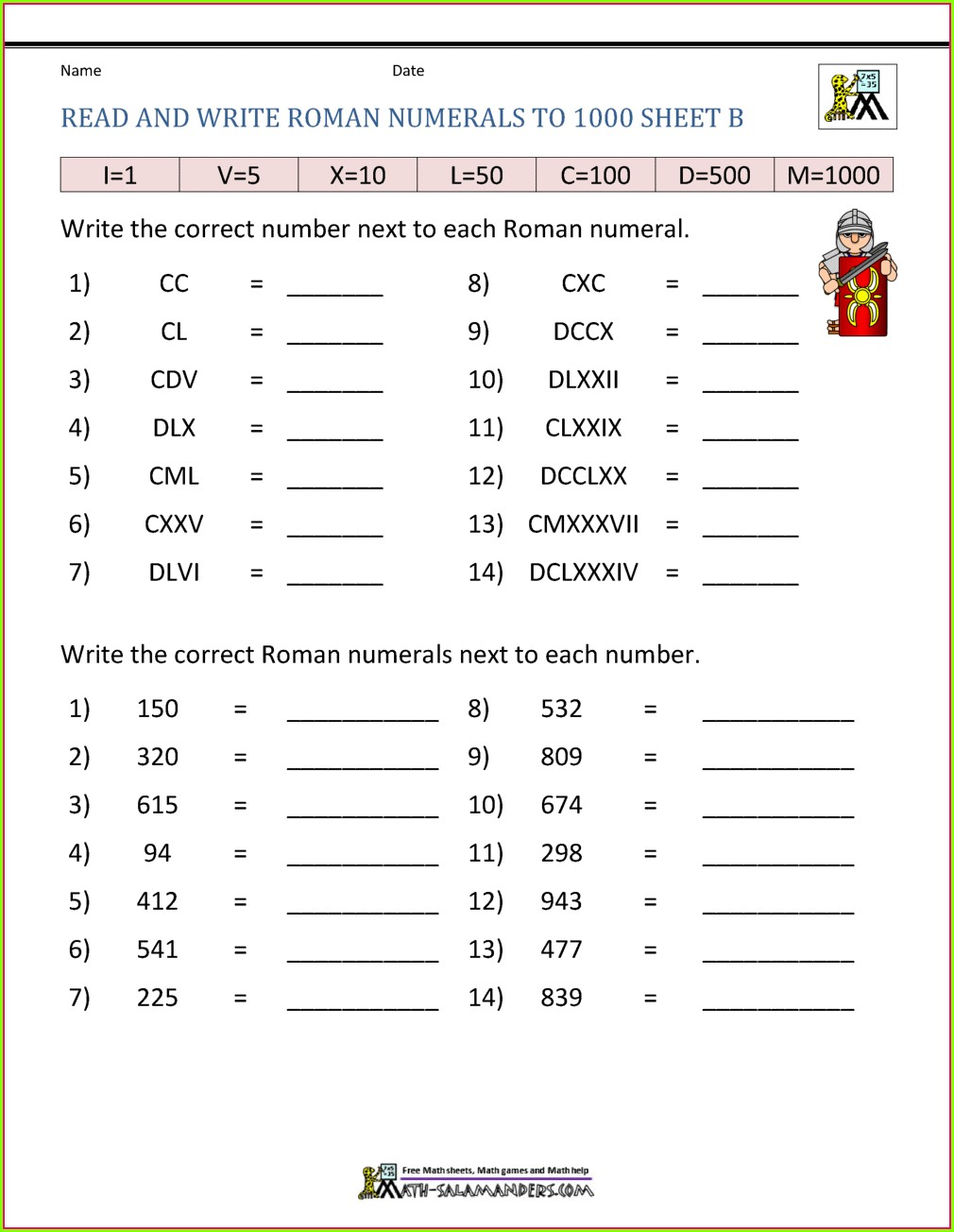 Roman Numeral Multiplication Worksheet