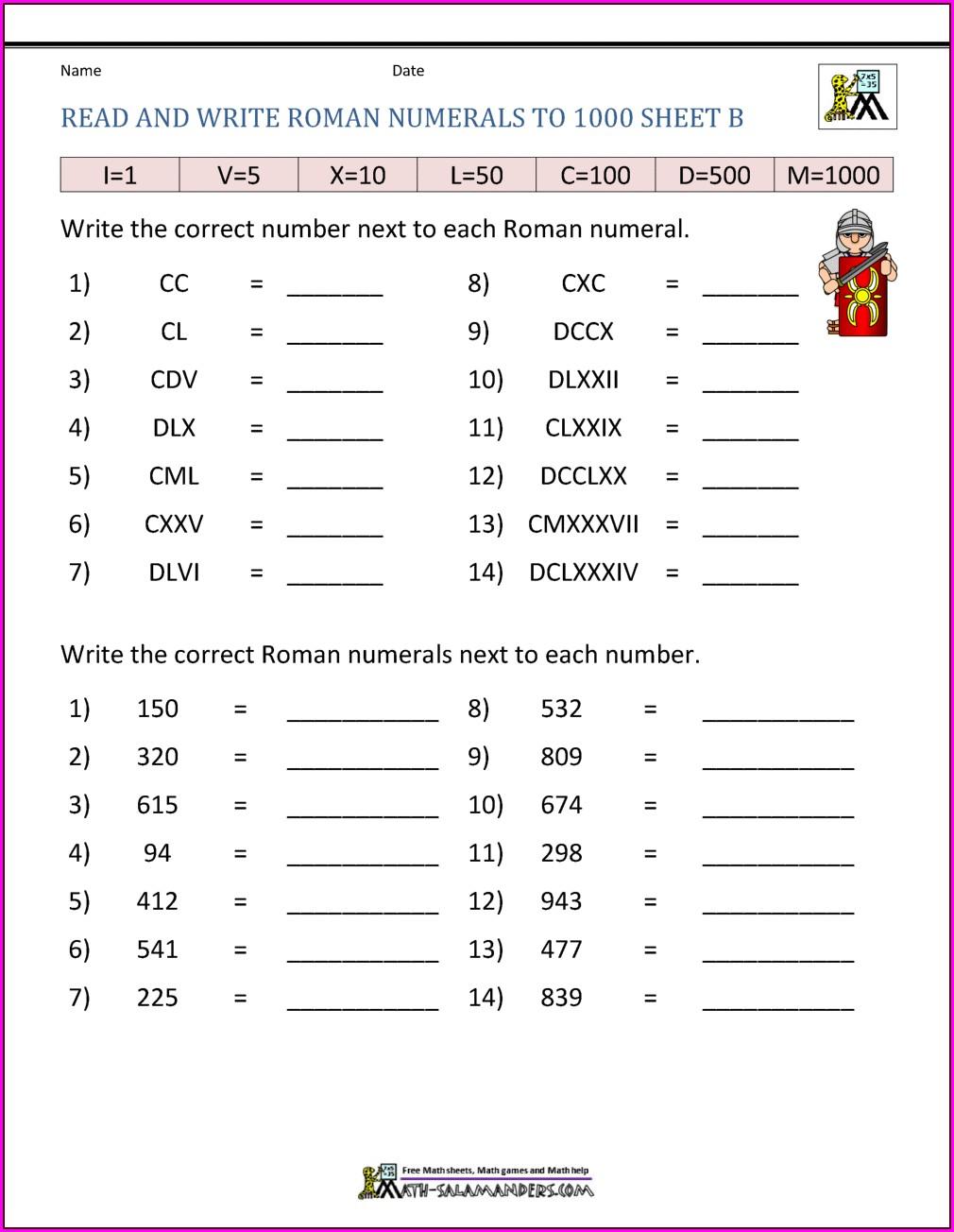 Roman Numerals Sums Worksheet