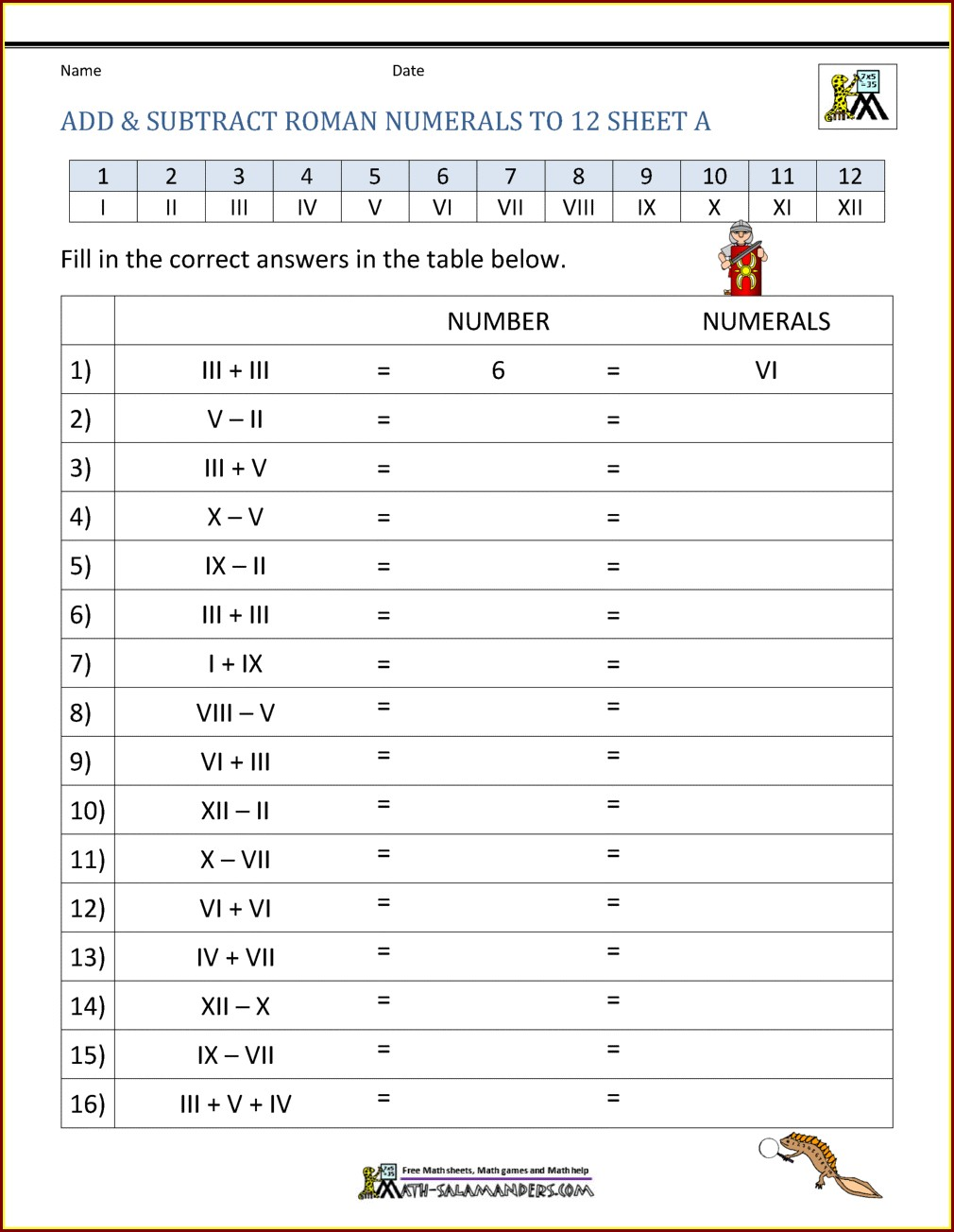 Roman Numerals Worksheet With Answers