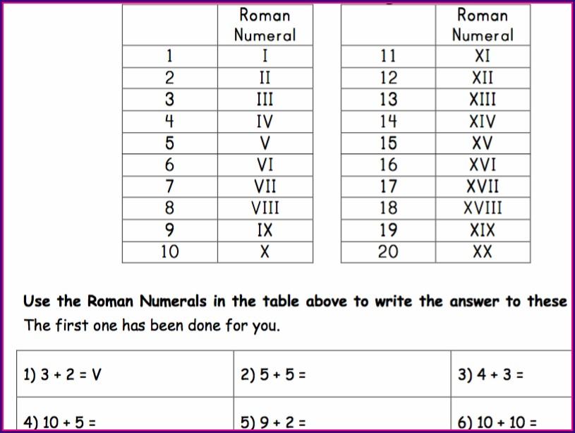 Roman Numerals Worksheet Year 2