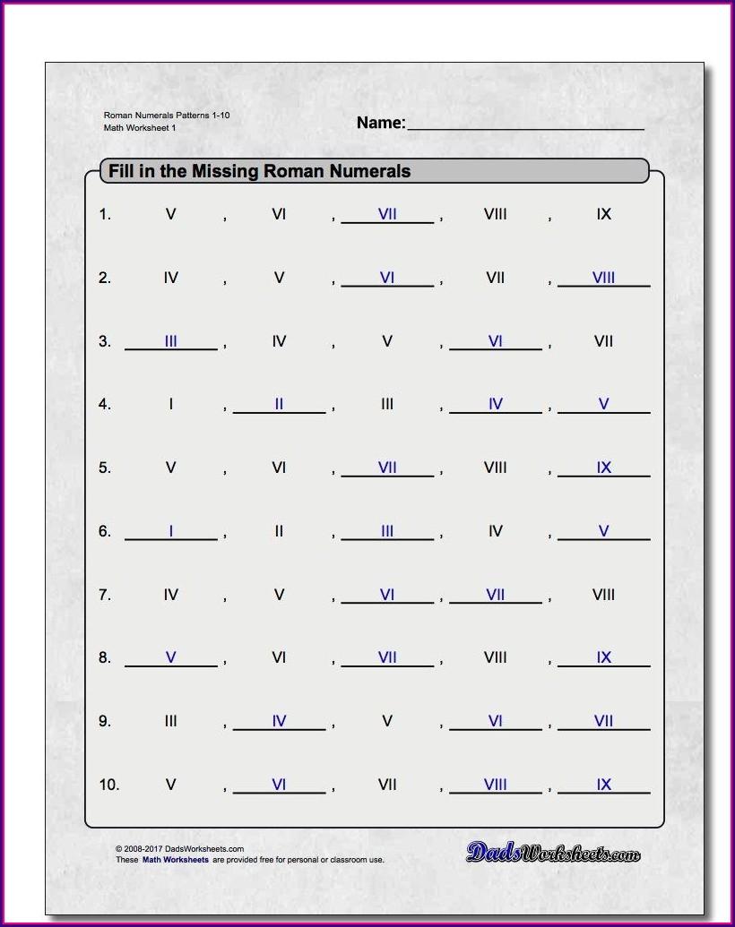 Roman Numerals Worksheet Year 3