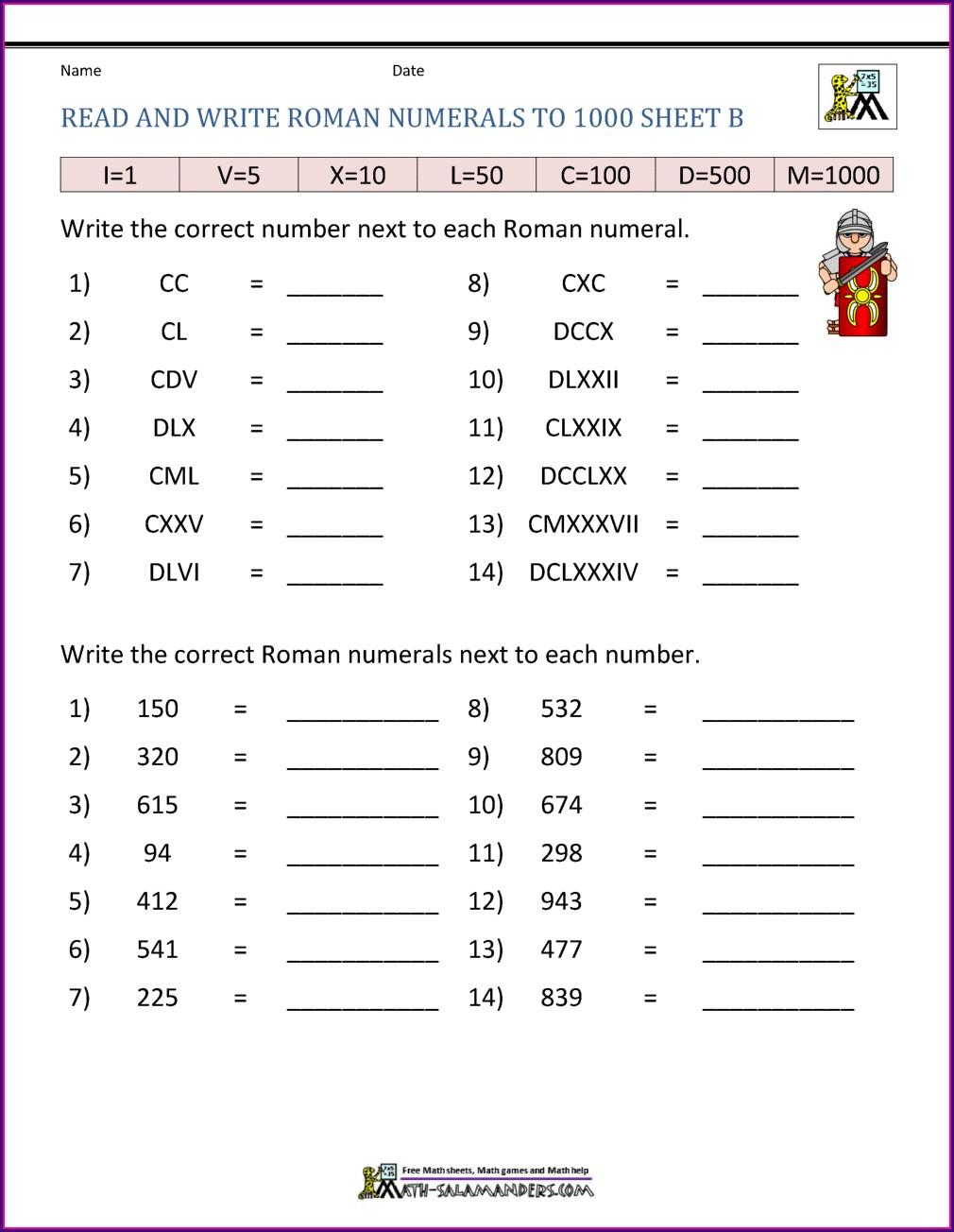 Roman Numerals Worksheet Year 7