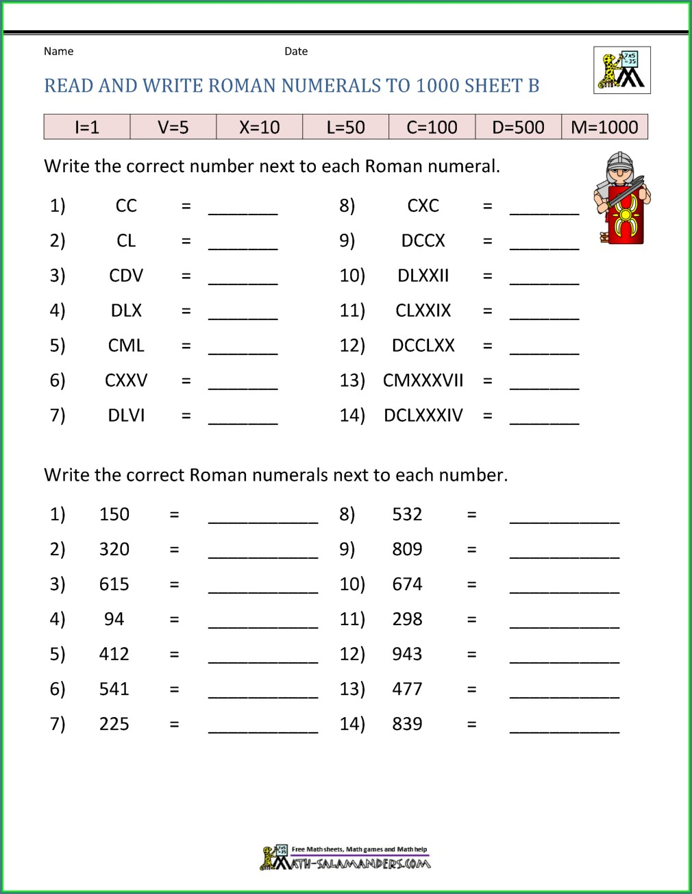 Roman Numerals Worksheets 4th Grade