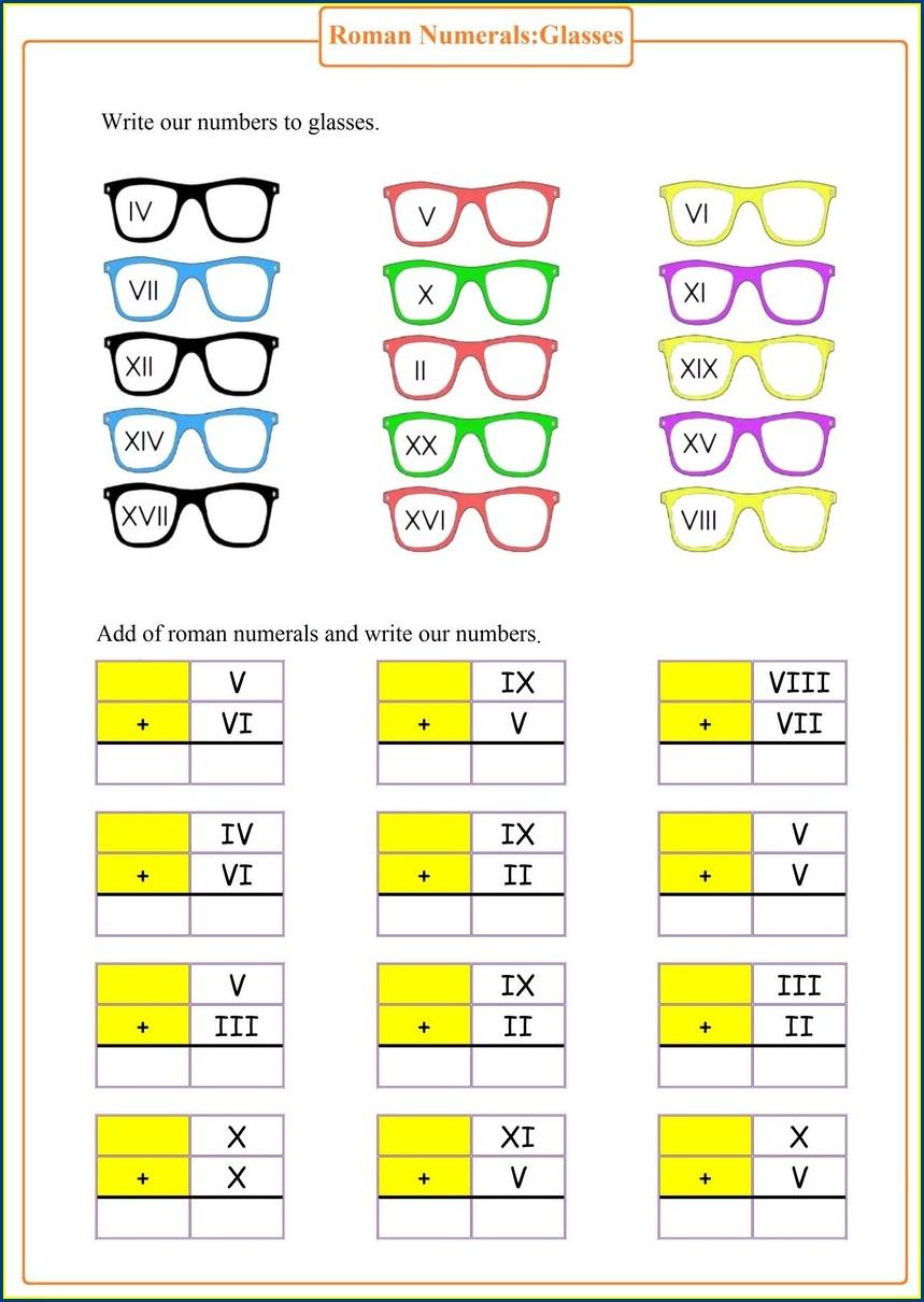 Roman Numerals Worksheets Pdf