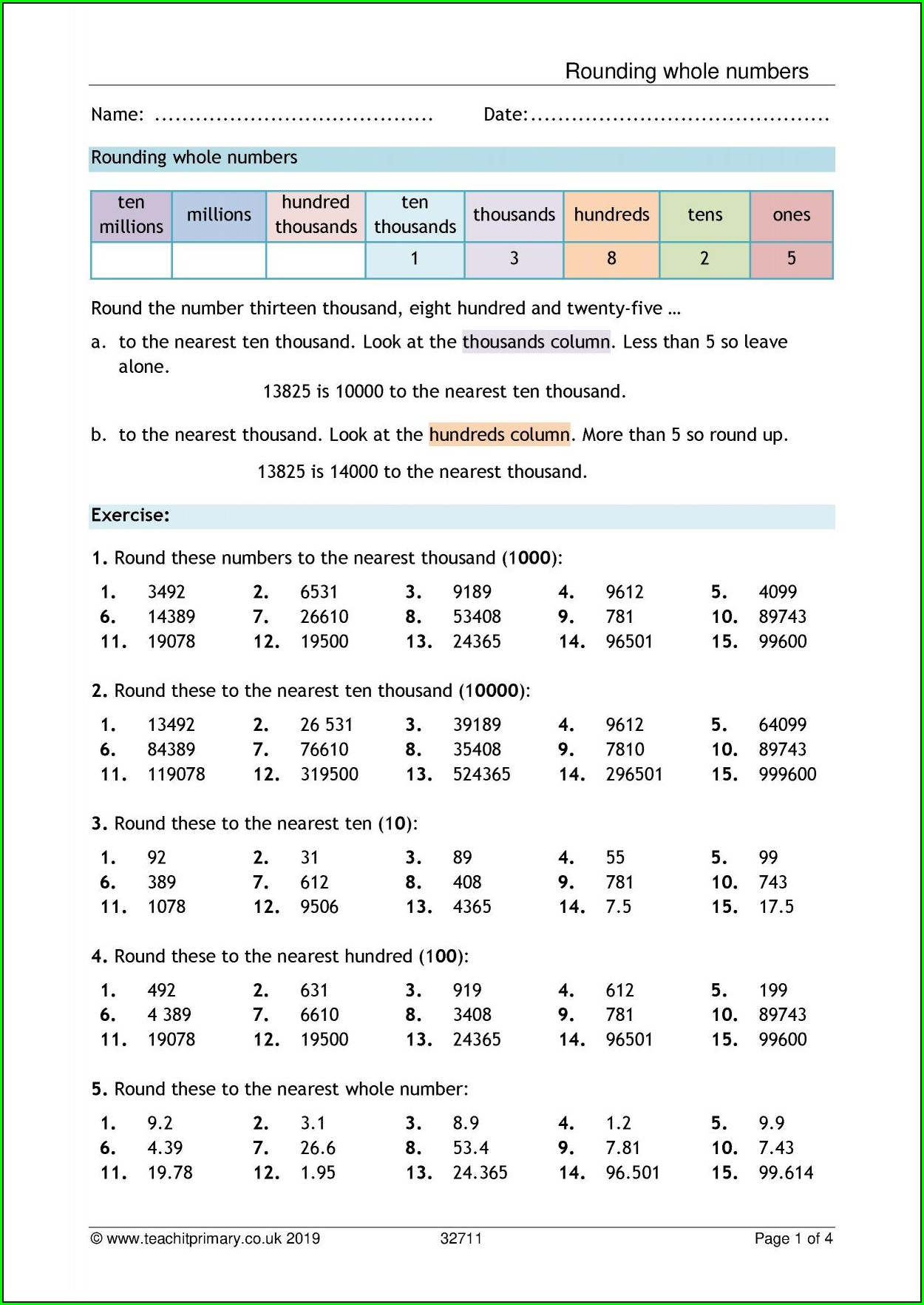 Rounding Decimals To Whole Numbers Worksheet Ks2