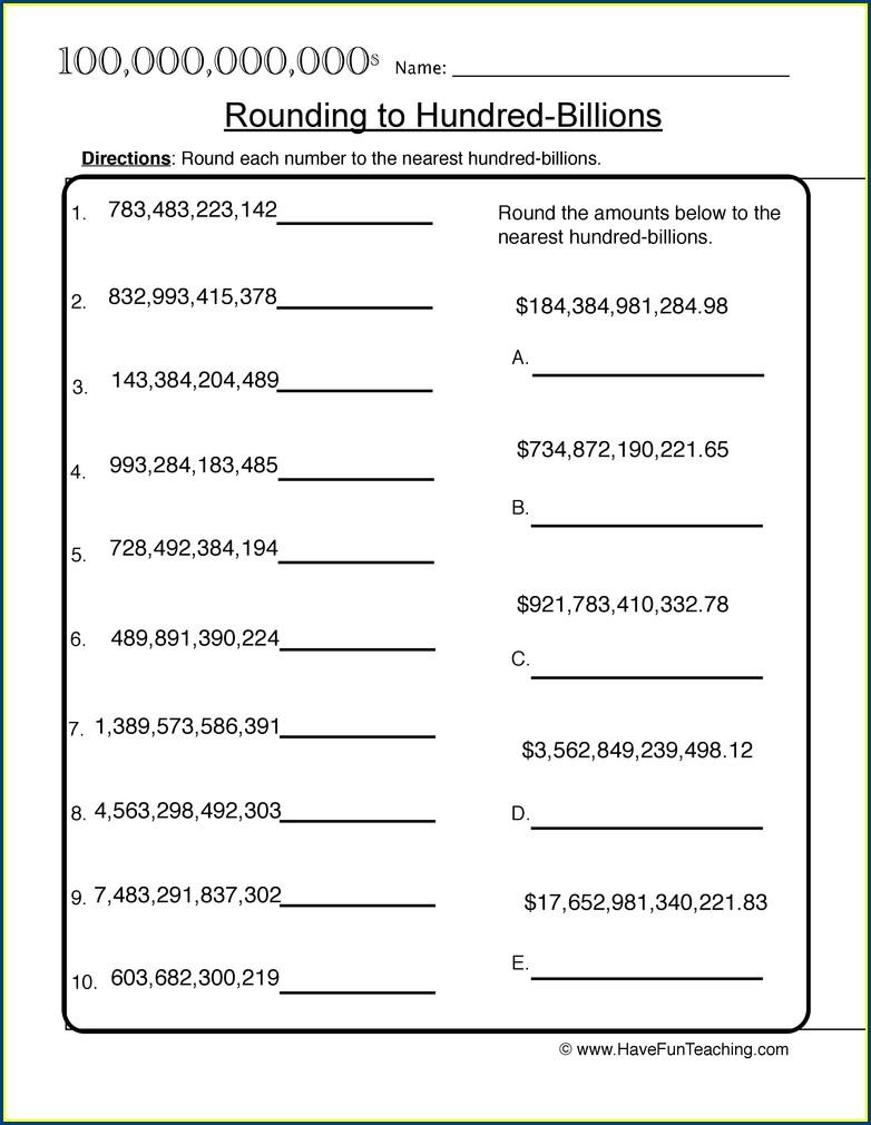 Rounding Multi Digit Numbers Worksheet