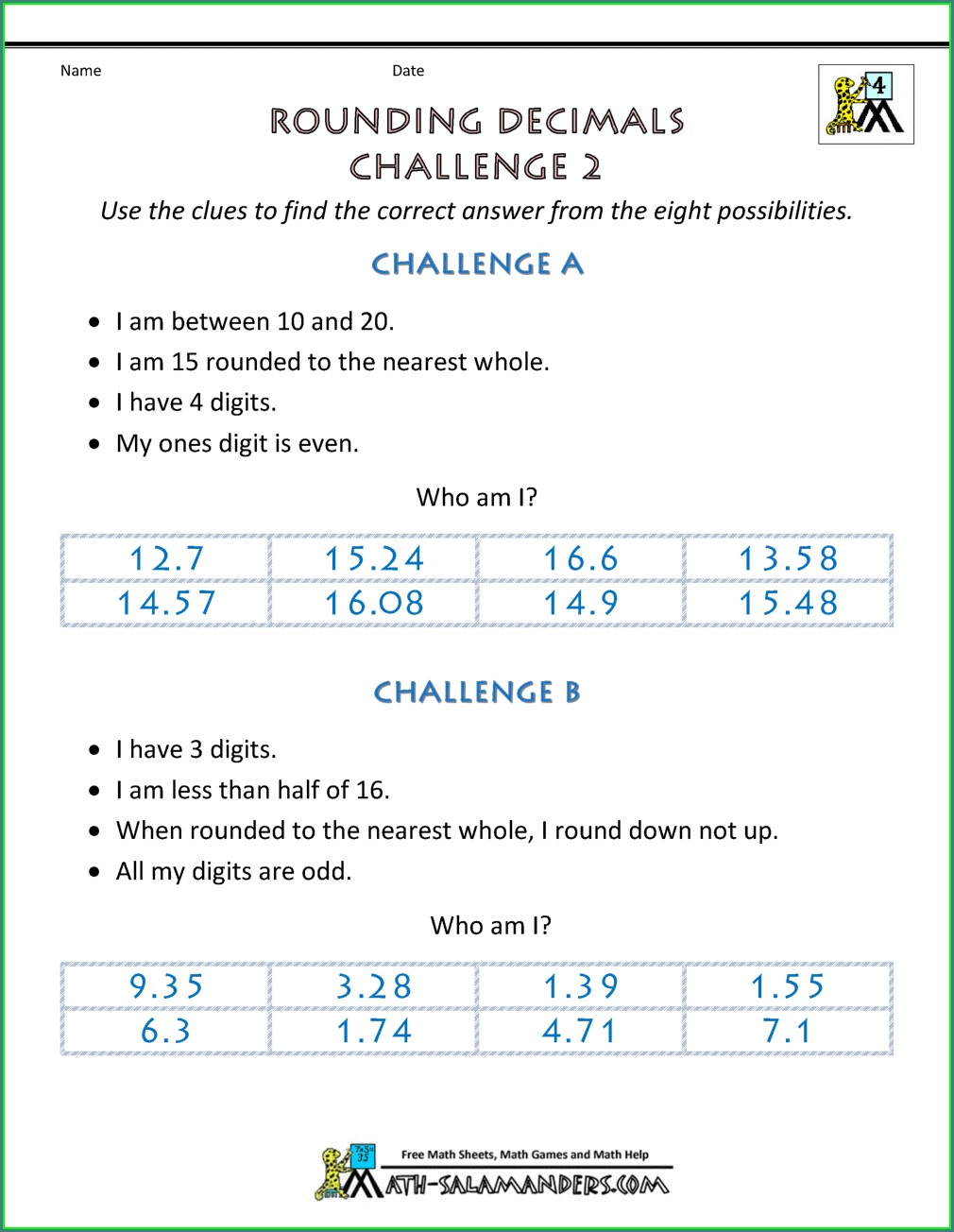 Rounding Numbers Puzzle Worksheet