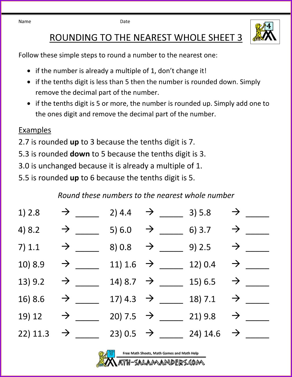 Rounding Whole Numbers And Decimals Worksheet Answers
