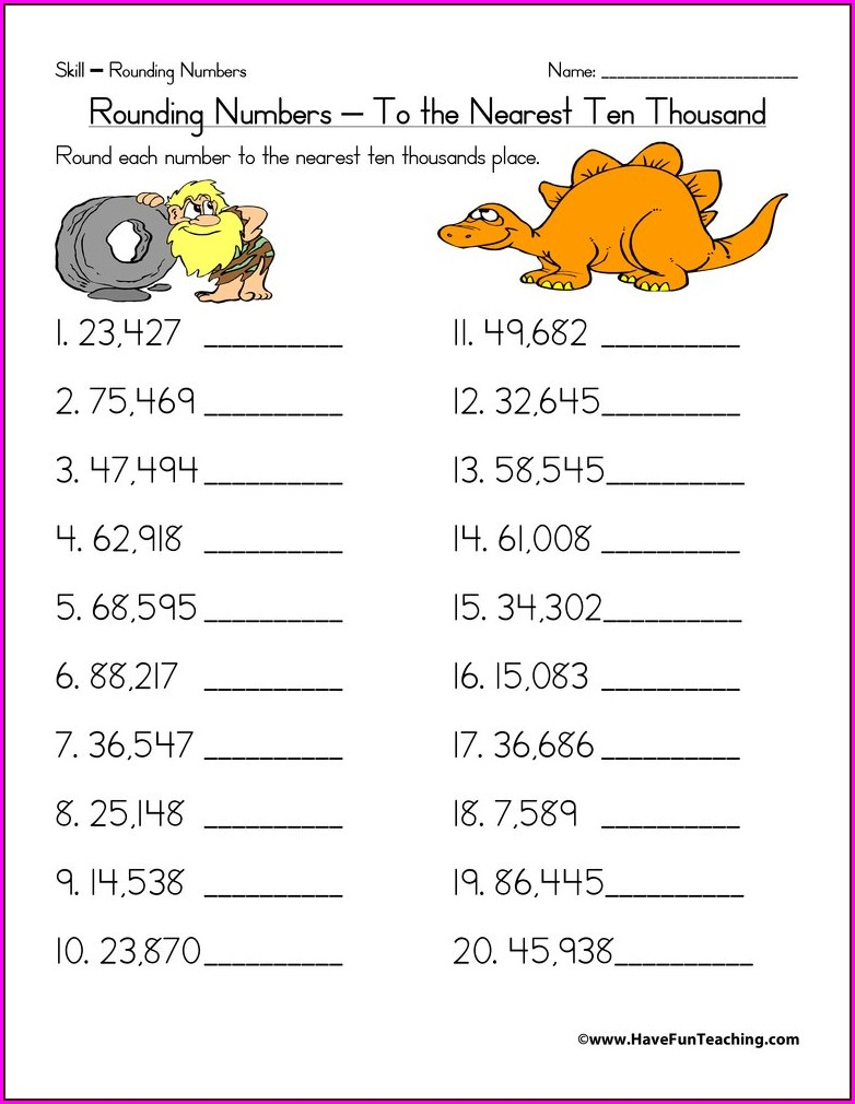 Rounding Whole Numbers To The Nearest Ten Worksheets