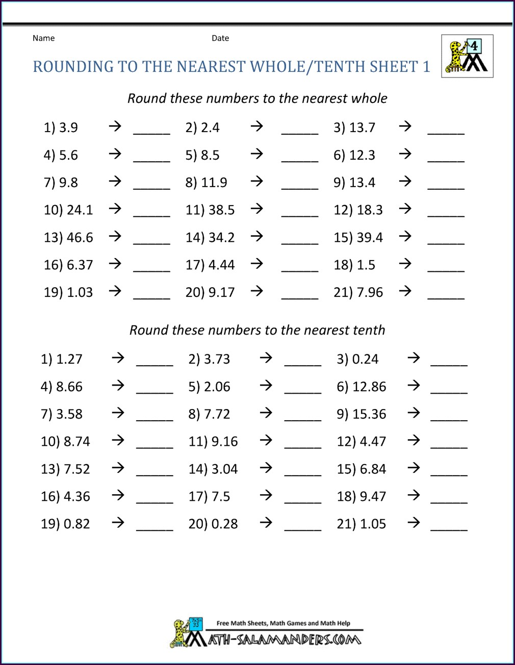 Rounding Whole Numbers Worksheets Free