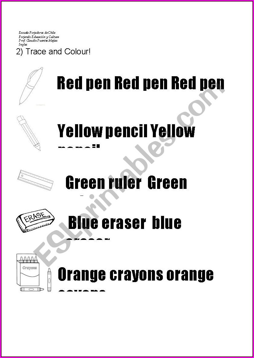 School Objects Tracing Worksheet
