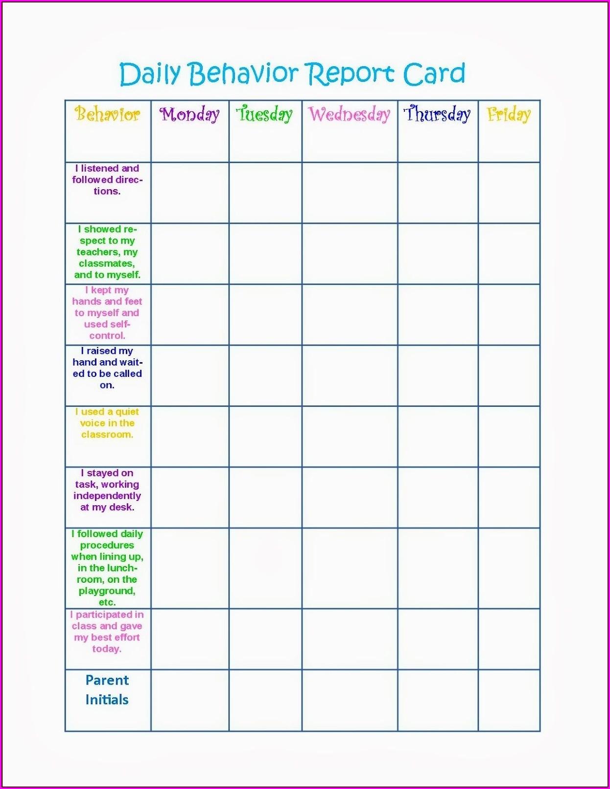 School Printable Behavior Chart For Kids
