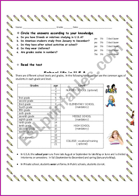 School System Usa Worksheet