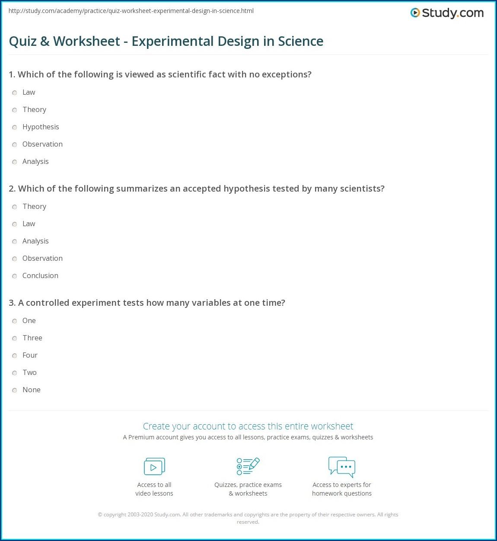 Science Experimental Design Worksheet