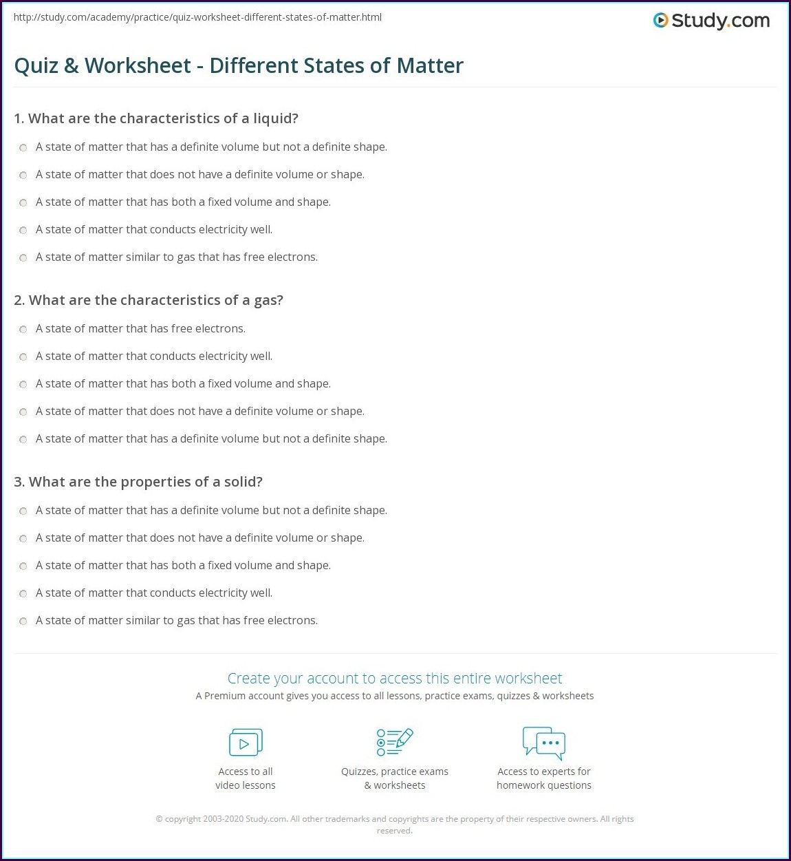Science Worksheet States Of Matter