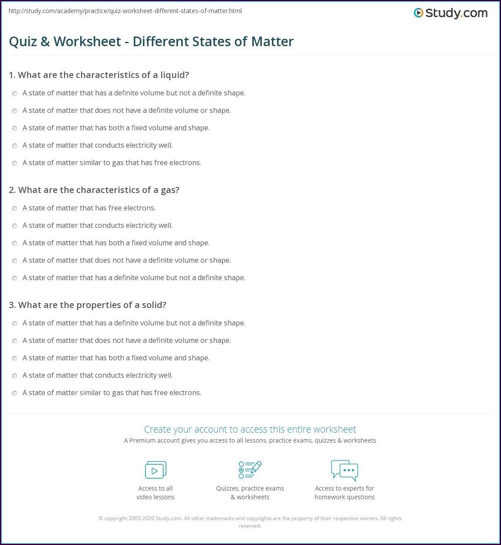 Science Worksheet States Of Matter