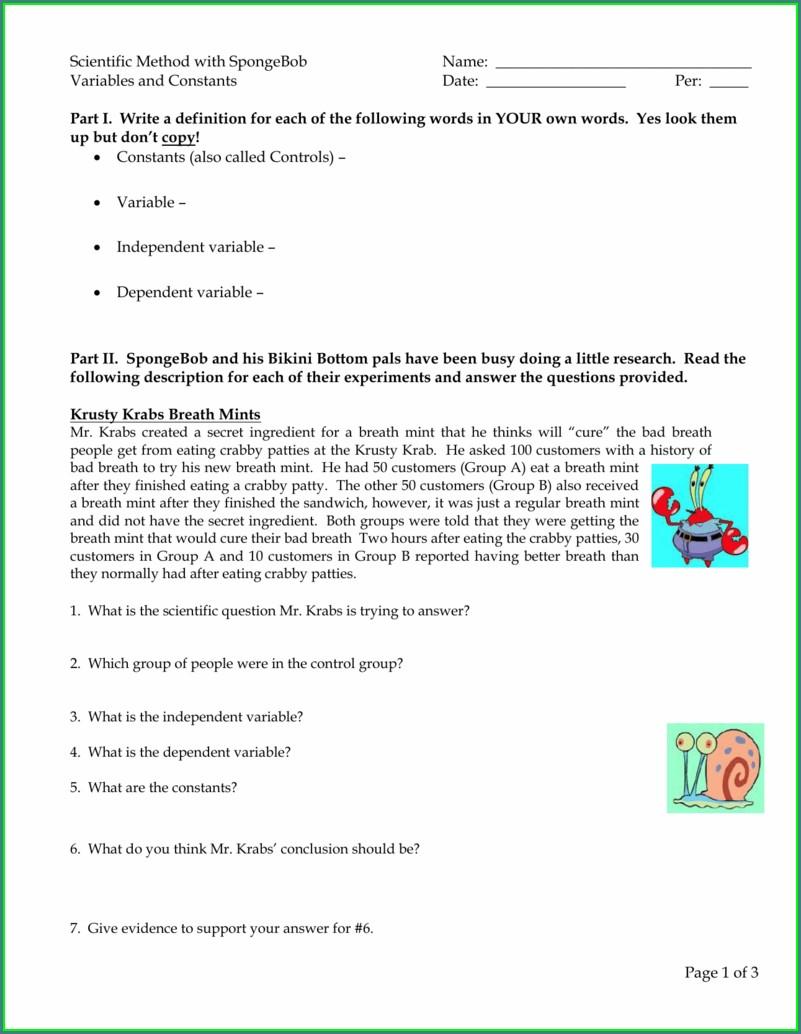 Scientific Method Bikini Bottom Worksheet Key