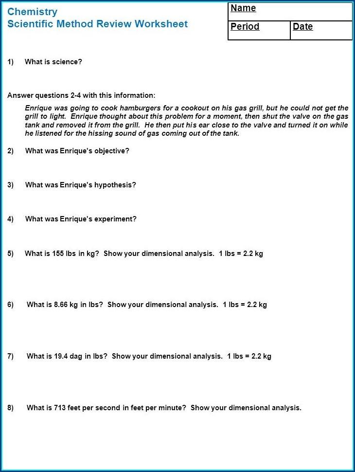 Scientific Method Chemistry Worksheet