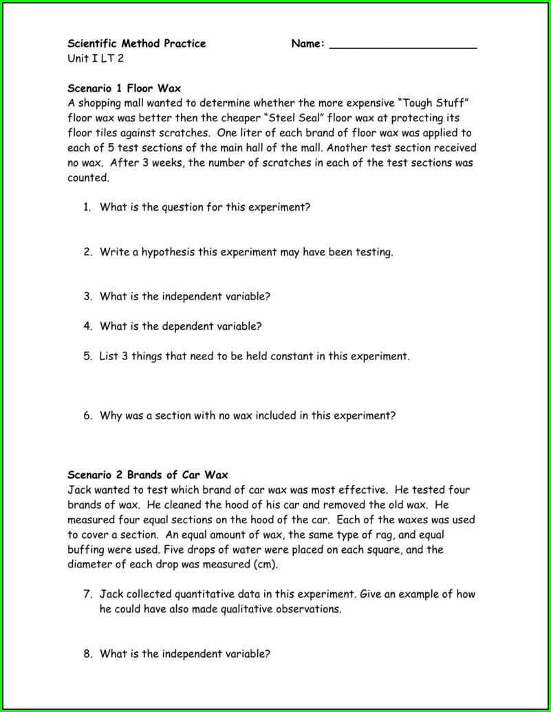 Scientific Method Practice Worksheet Doc