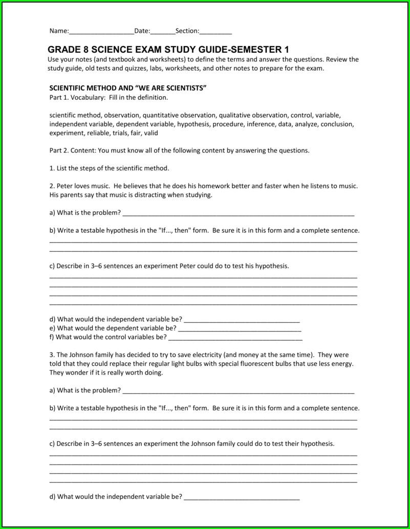 Scientific Method Review Worksheet Answer Key