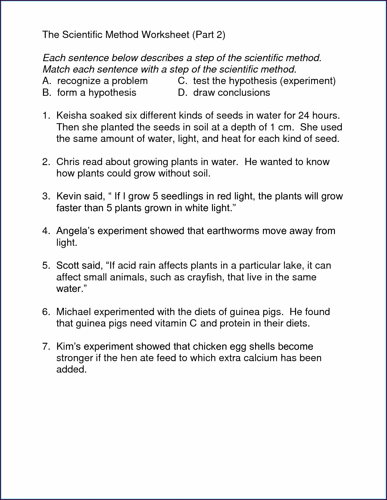 Scientific Method Worksheet 8th Grade