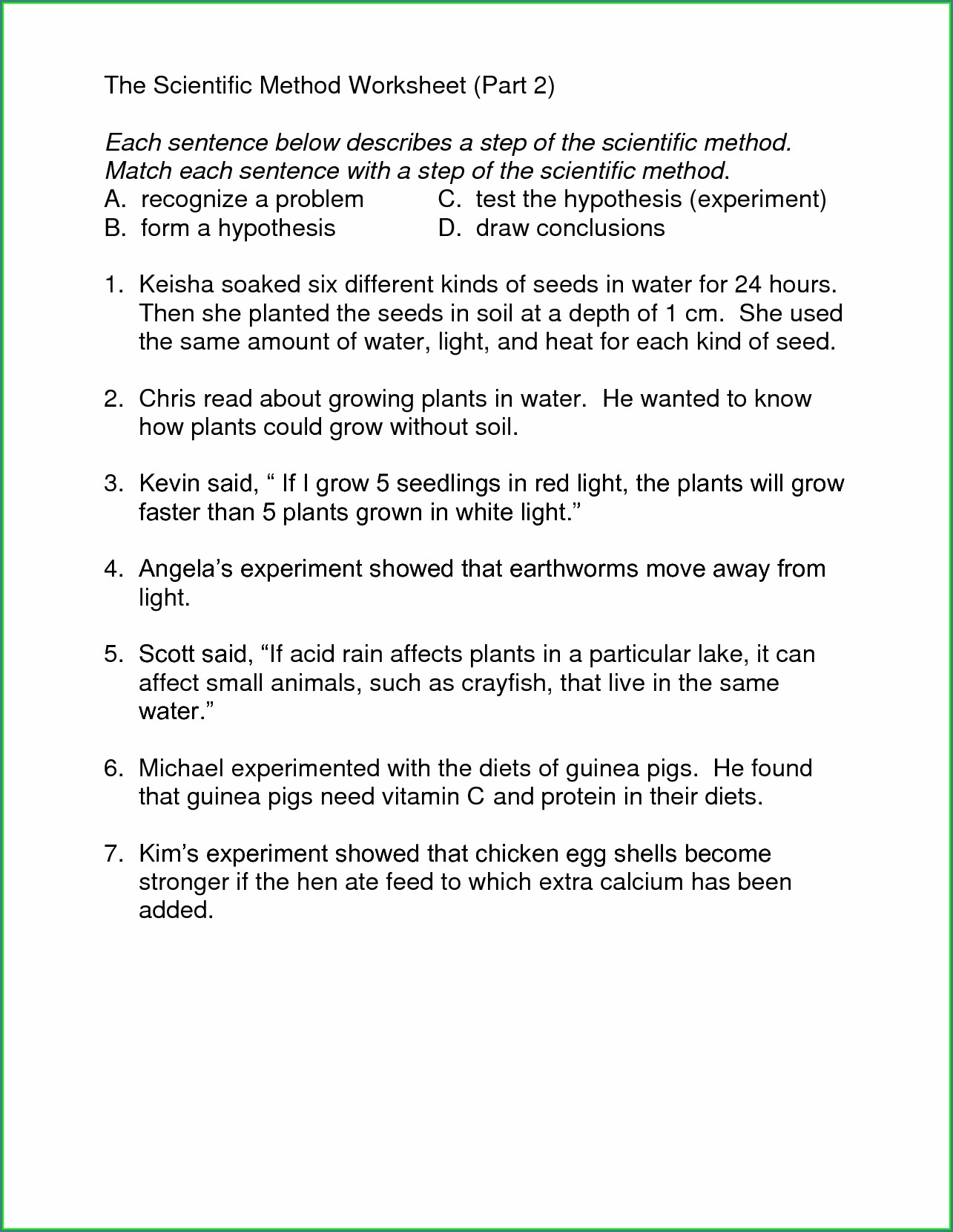 Scientific Method Worksheet Middle School Students