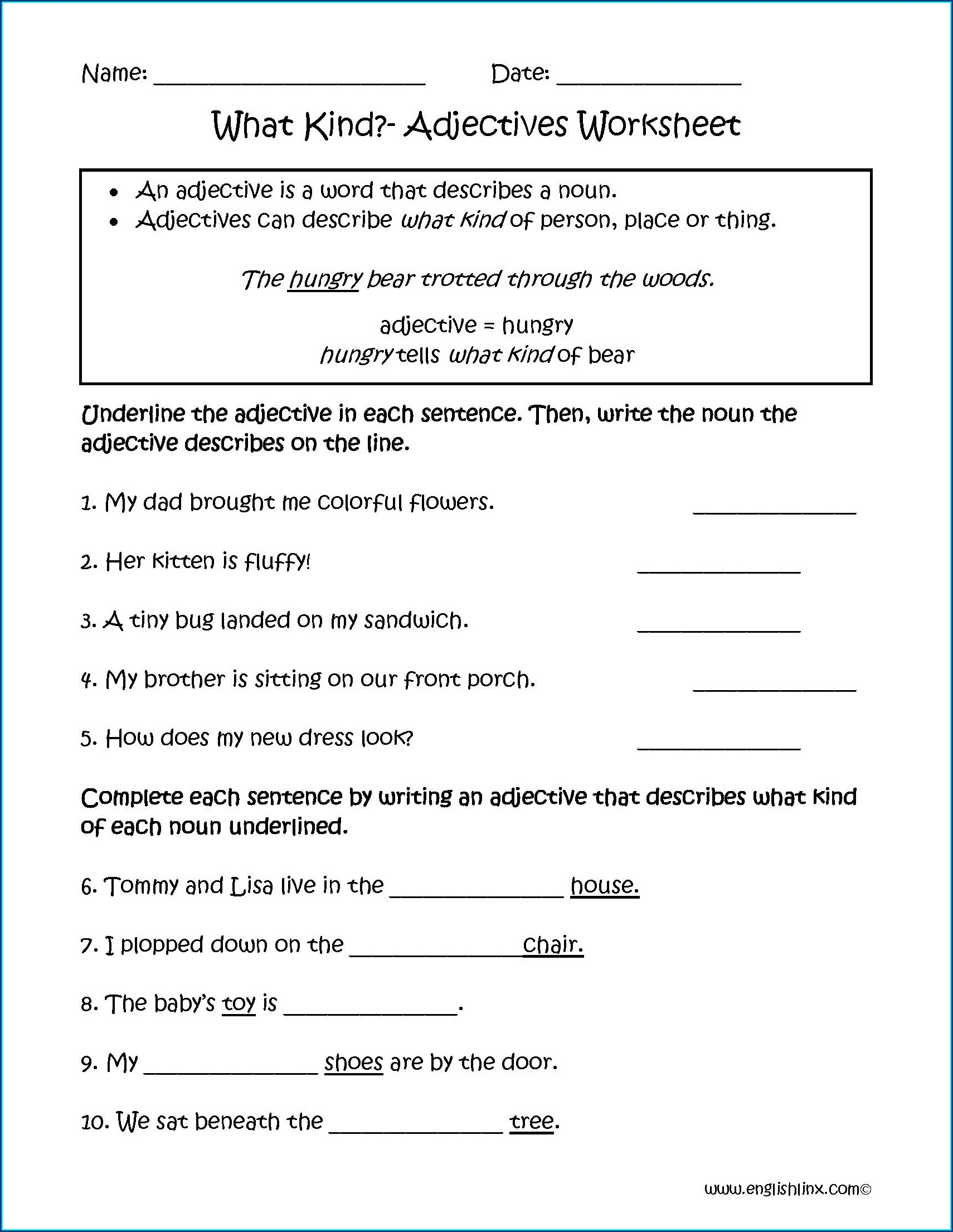 Second Grade Adjectives Worksheet Grade 2