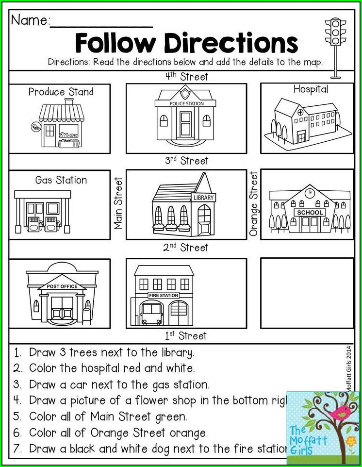 Second Grade Following Directions Worksheet