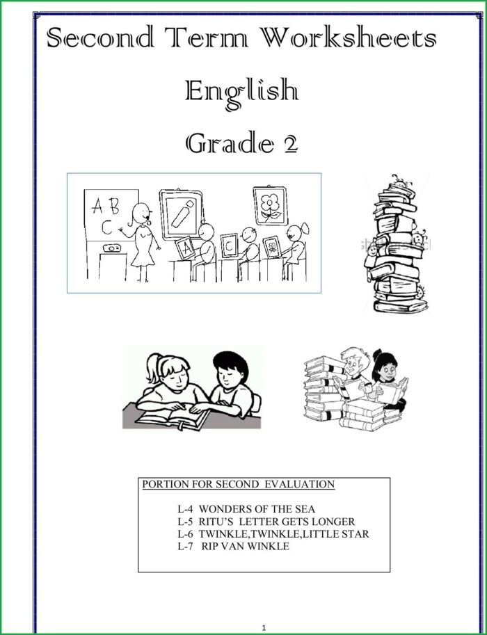 Second Grade Grade 2 English Worksheets