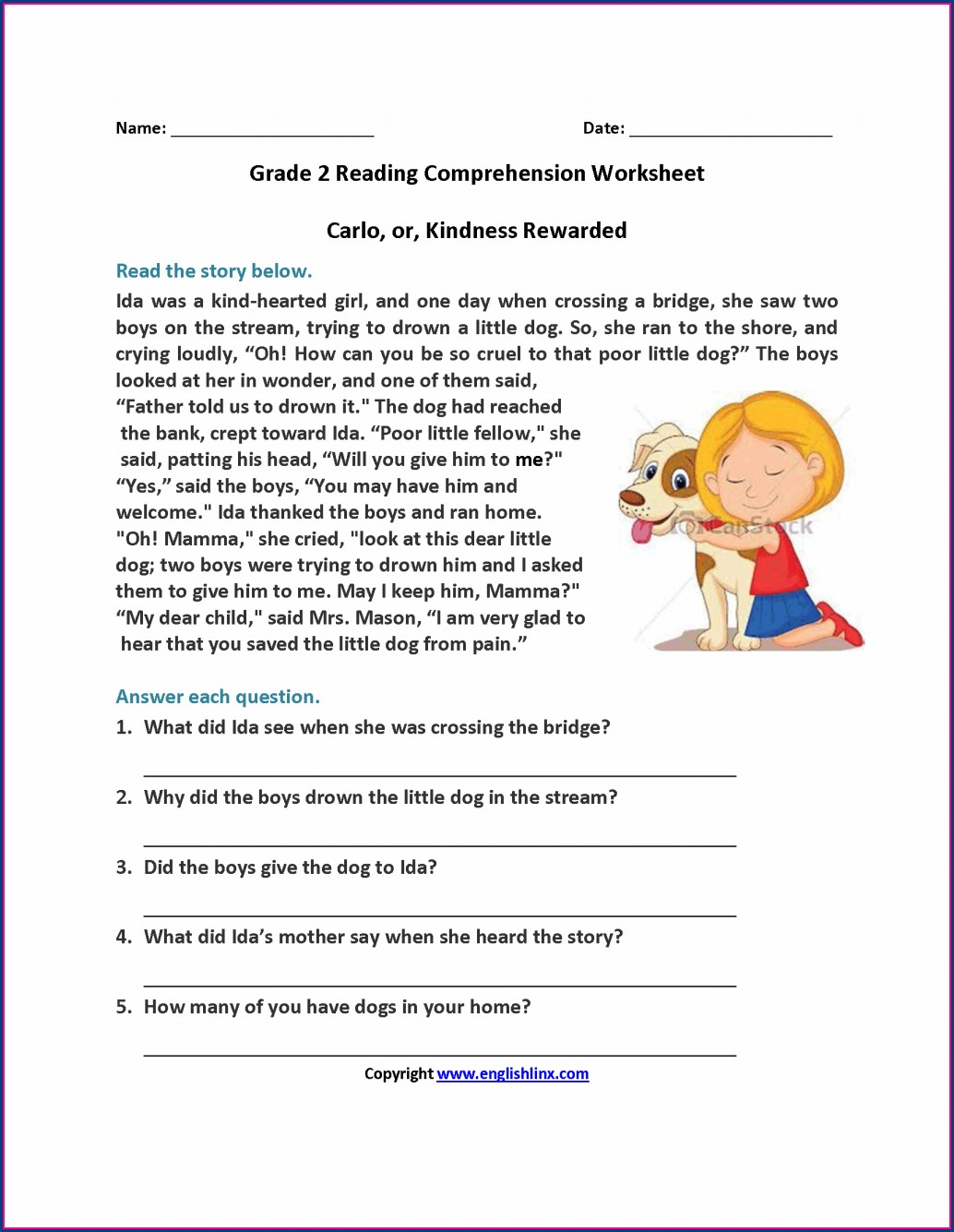 Second Grade Grade 2 English Worksheets Comprehension