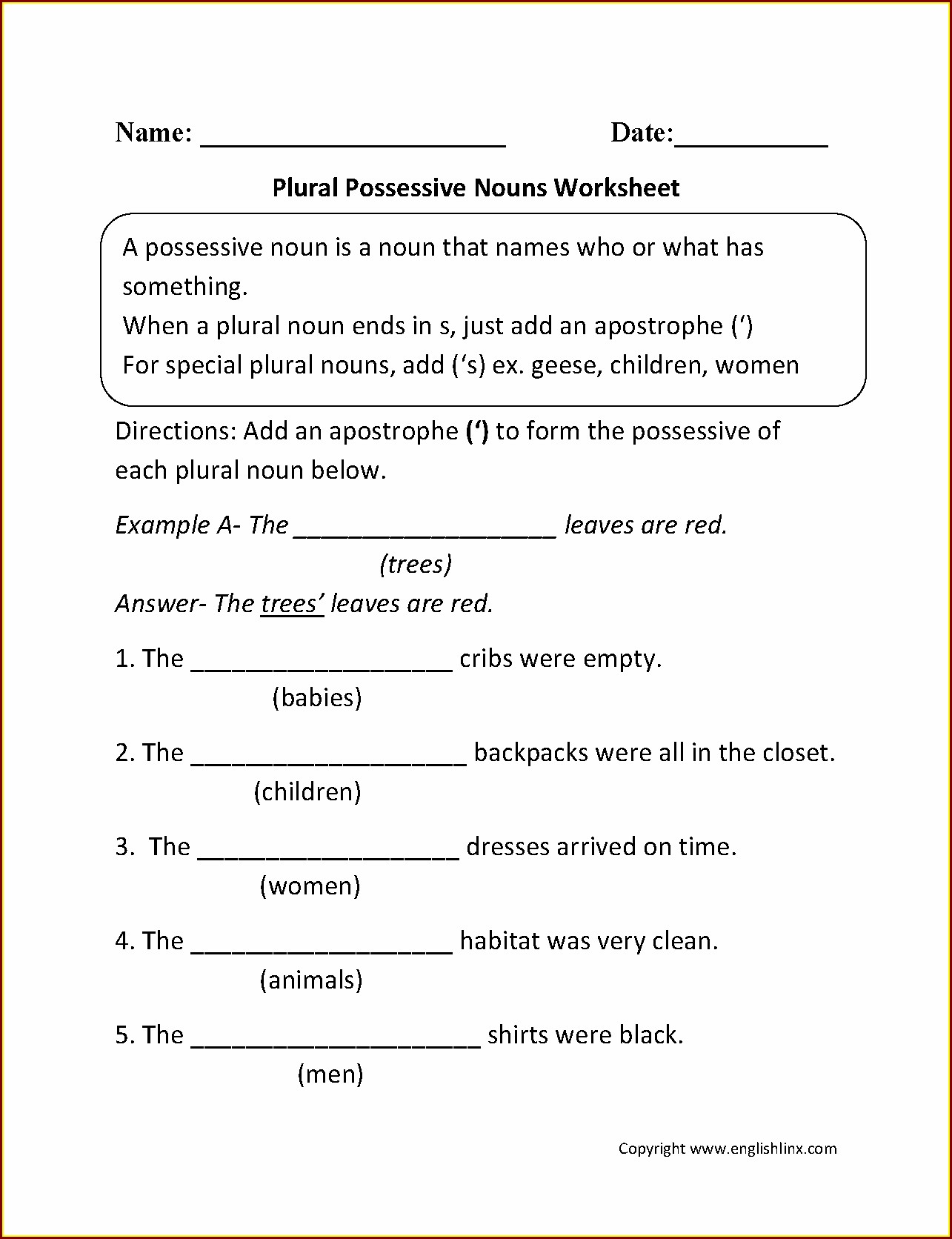 Second Grade Worksheet On Nouns