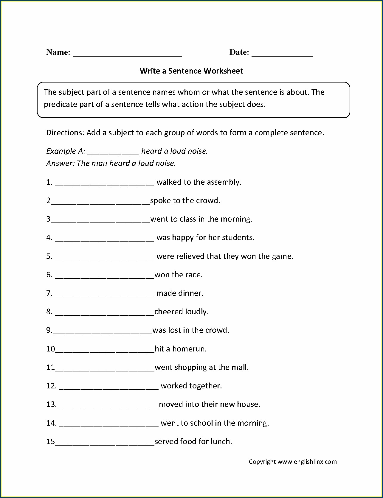 Sentence Structure Writing Sentences Worksheets Pdf