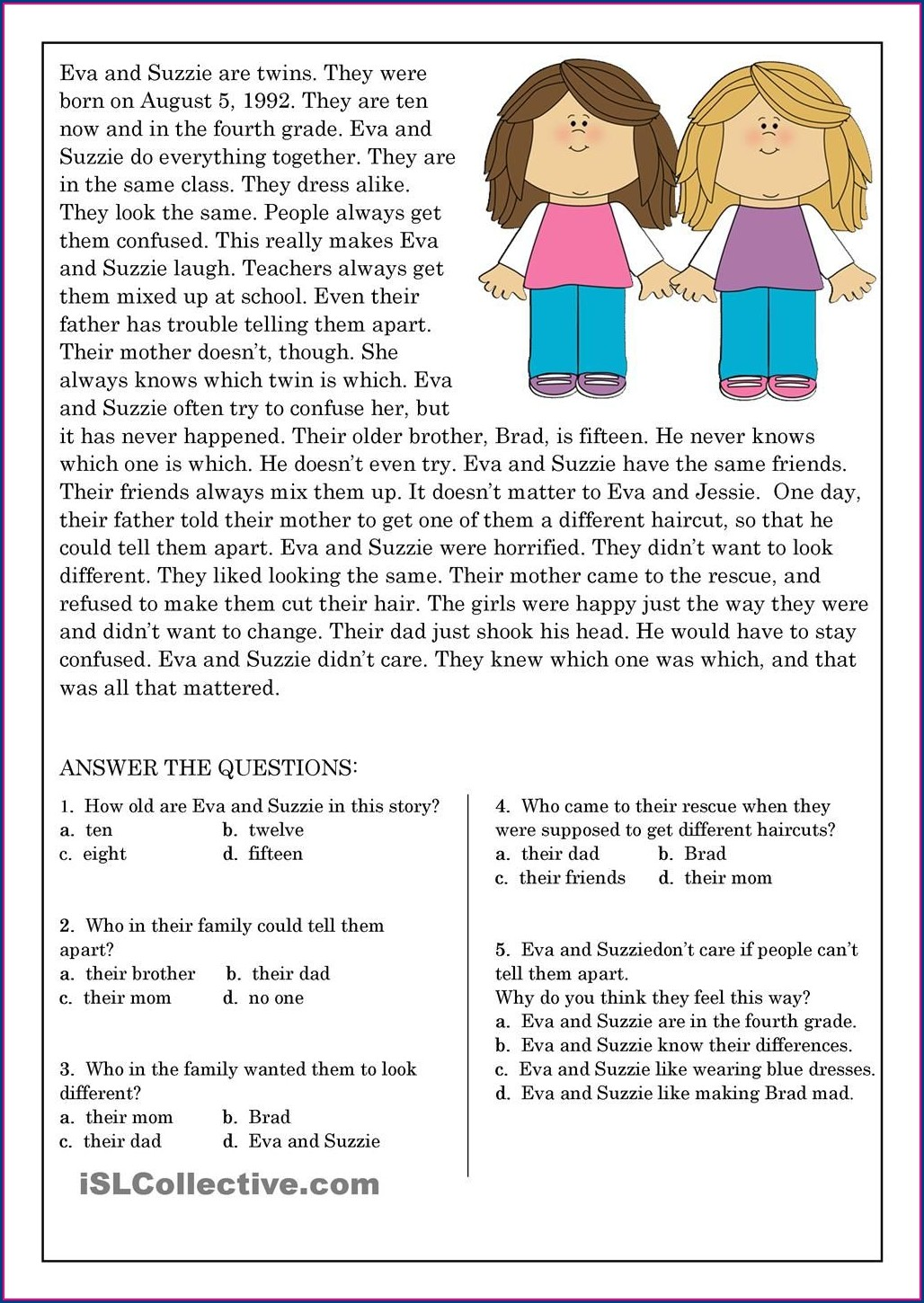 Short Reading Comprehension Exercises With Answers Pdf