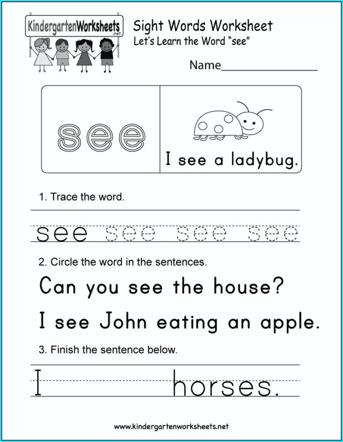 Sight Word Worksheet Can