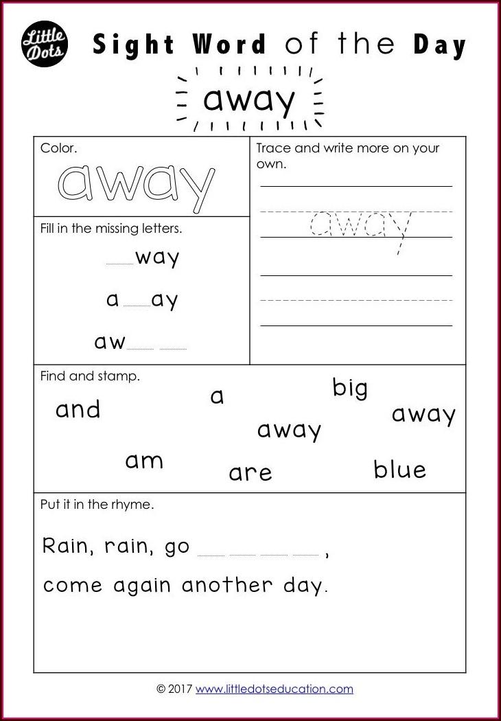 Sight Words Worksheet For Pre K
