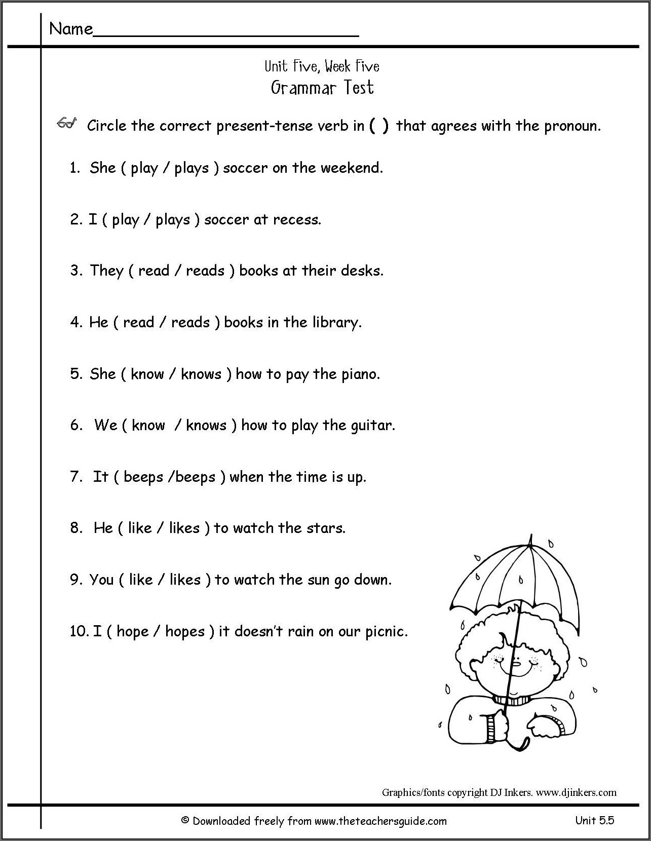 Simple Present Tense Worksheet For Grade 5