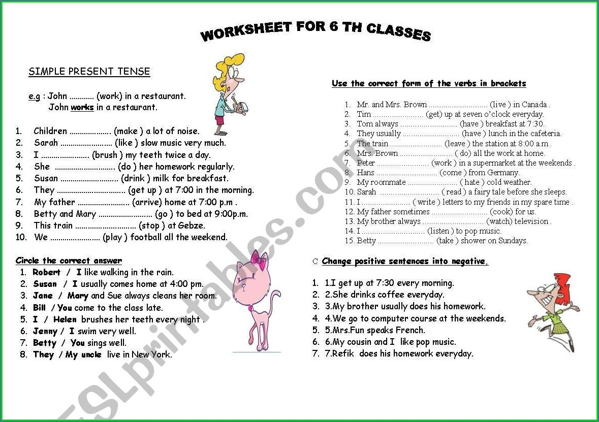 Simple Present Tenses Worksheet For Class 5