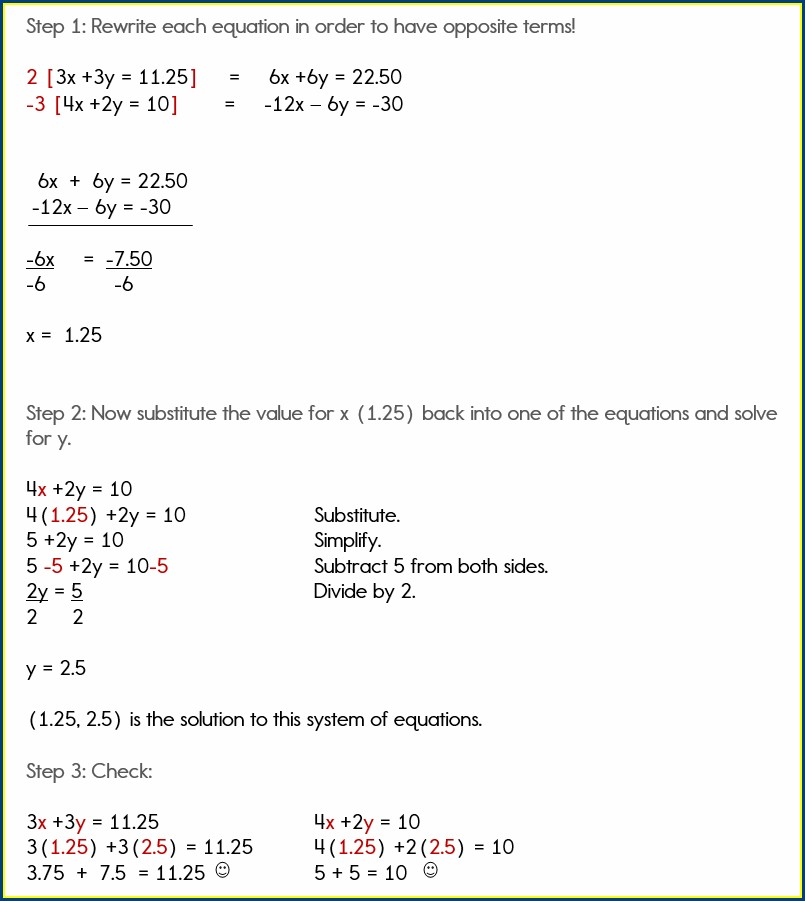 Simple Systems Of Equations Word Problems Worksheet