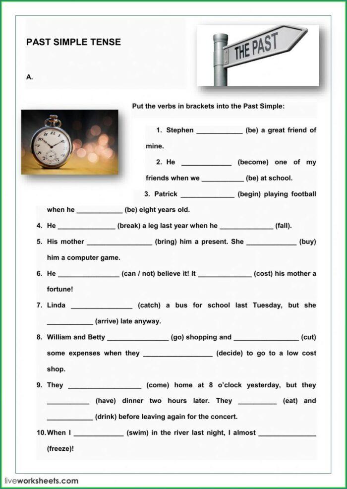 Simple Tenses Worksheet For Class 5
