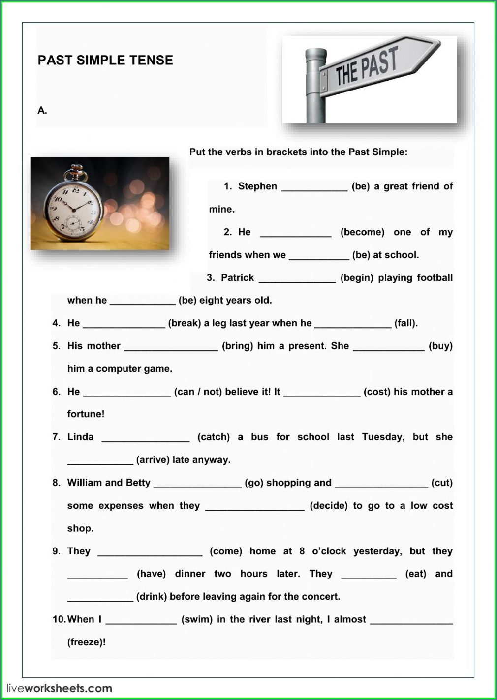 Simple Tenses Worksheet For Class 5