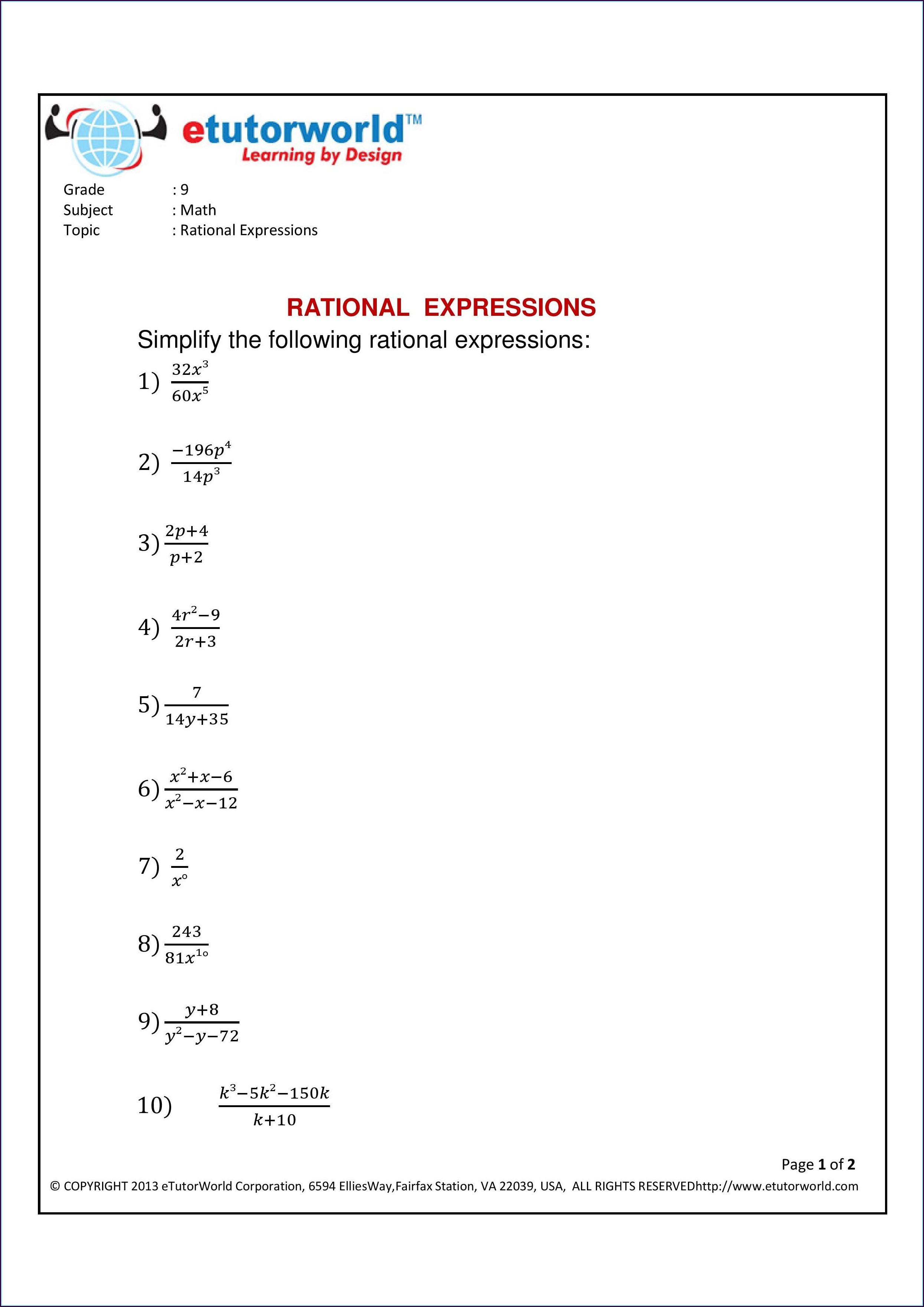 Simplifying Rational Numbers Worksheet