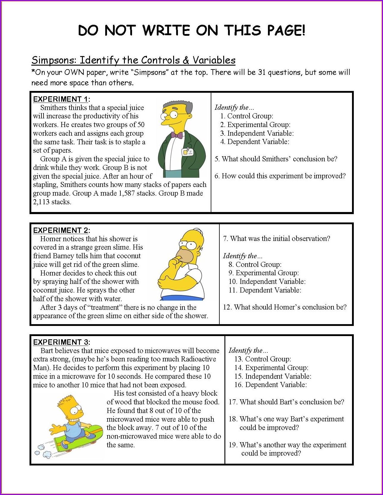 Simpsons Science Worksheet Answer Key